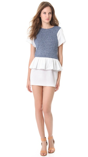 Thakoon Addition Denim Combo Peplum Dress