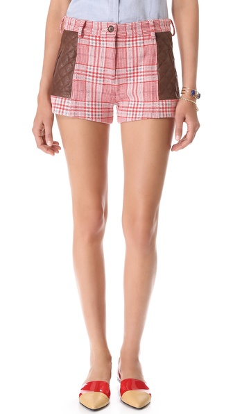 Thakoon Addition Quilted Leather Shorts - Red Multi at Shopbop / East Dane