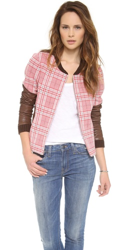 Thakoon Addition Leather Sleeve Plaid Jacket