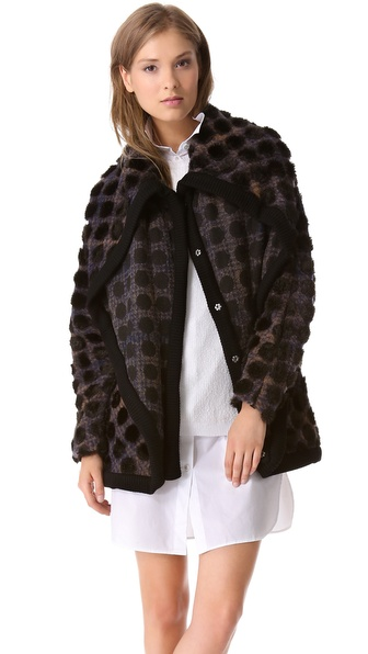 Thakoon Addition Layer Dotted Plaid Coat