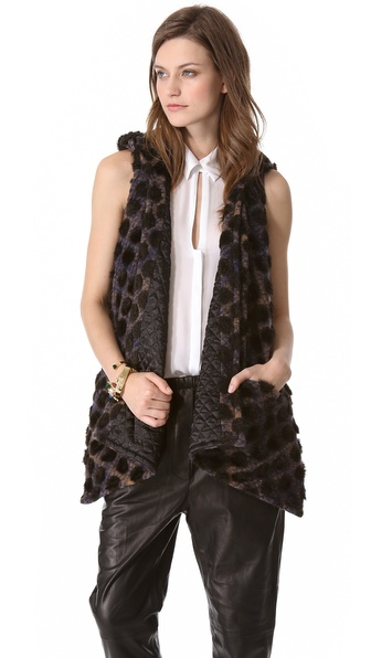 Thakoon Addition Dot Plaid Hooded Vest