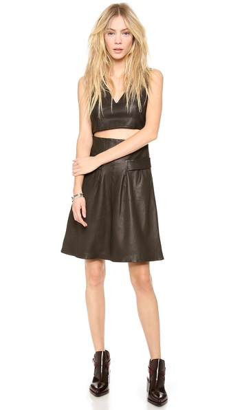 Thakoon Addition Cutout Midriff Leather Dress