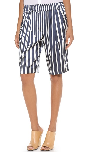 Thakoon Addition Knee Length Shorts - Navy/Ivory at Shopbop / East Dane