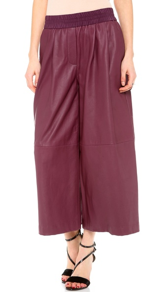 Thakoon Addition Leather Wide Leg Culotte Pants - Burgundy at Shopbop / East Dane