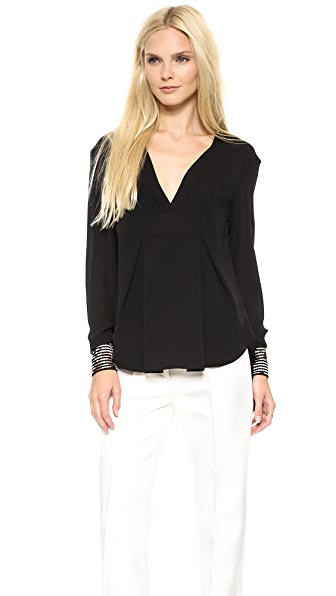 Thakoon Addition Long Sleeve Drape Front Top