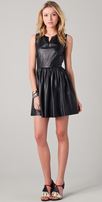 Thakoon Split Neck Leather Dress