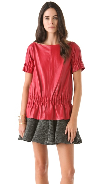 Thakoon Ruched Leather Top