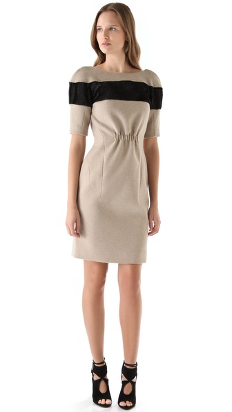 Thakoon Haircalf Stripe Dress with Open Back