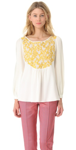 Thakoon Embroidered Long Sleeve Top