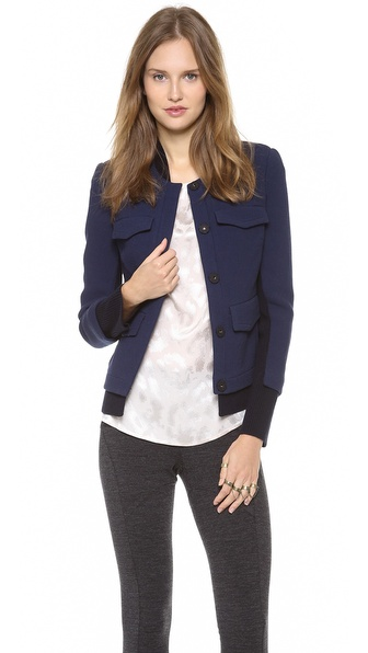 Thakoon Wool Jacket with Ribbed Trim