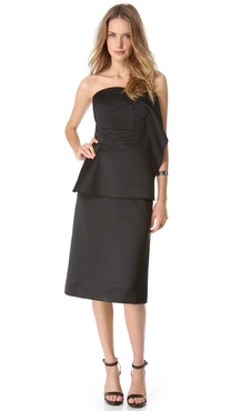 Thakoon Strapless Ruffle Dress