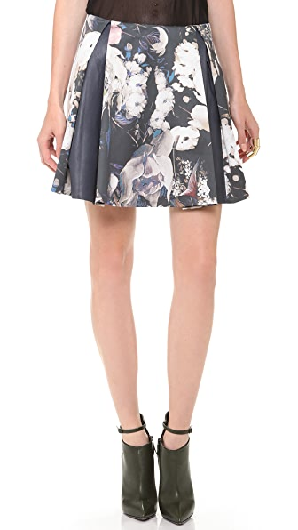 Thakoon Leather Combo Pleated Skirt