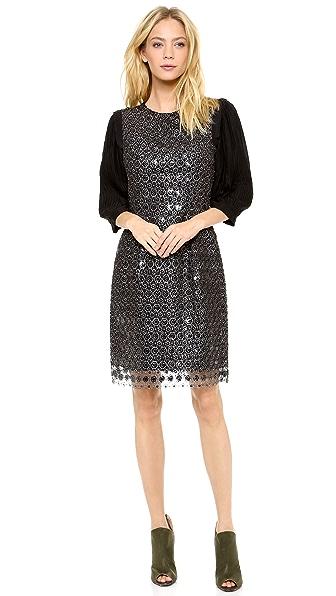Thakoon Metallic Lace Sequined Dress