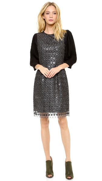 Thakoon Metallic Lace Sequined Dress