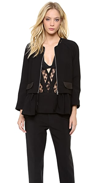 Thakoon Leather Pocket Peplum Jacket