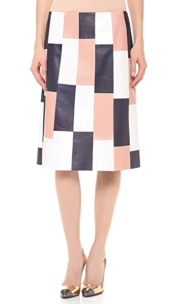 Thakoon Paneled Leather A Line Skirt