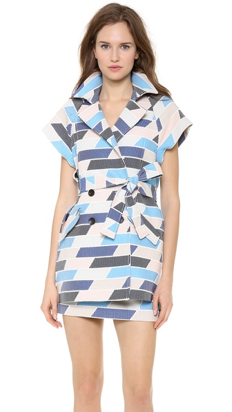 Thakoon Short Sleeve Belted Trench - Multi at Shopbop