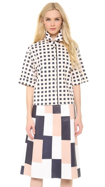 Thakoon 3/4 Sleeve Box Shirt - Pink/Blue/Ivory at Shopbop