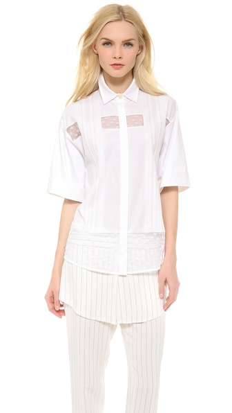 Thakoon Shadow Stripe Lace Shirt - White at Shopbop