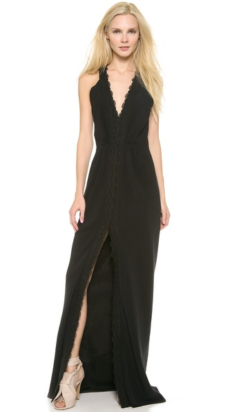 Thakoon Lace Trim V Neck Gown - Black at Shopbop