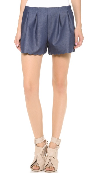 Thakoon Scallop Hem Tap Shorts - Dark Denim at Shopbop