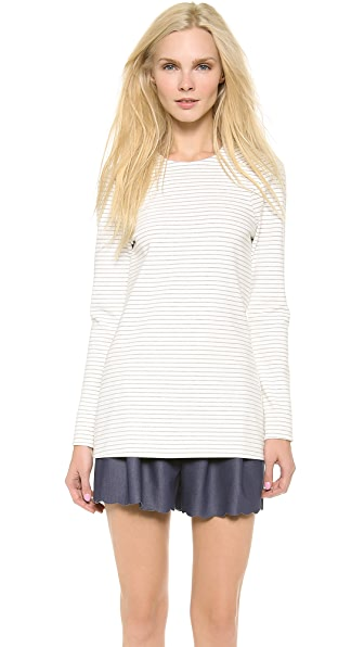 Thakoon Long Sleeve Scalloped Hem Top