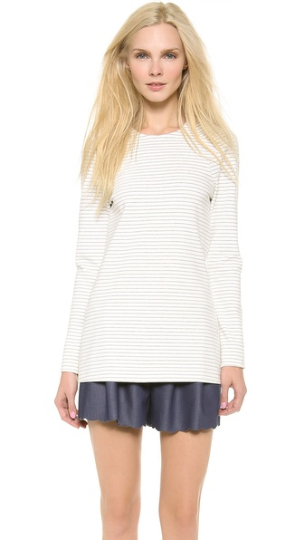 Thakoon Long Sleeve Scalloped Hem Top - Creme/Grey Melange at Shopbop