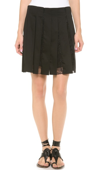 Thakoon Lace Pleated Skirt - Black at Shopbop