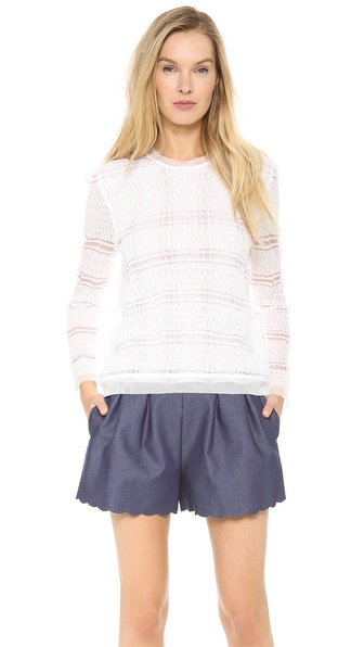 Thakoon Sheer Double Layer Pullover - White at Shopbop