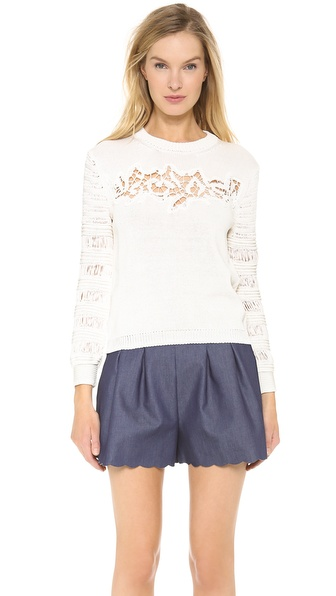 Thakoon Lace Front Pullover - Ivory at Shopbop