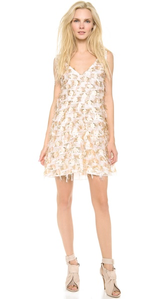 Thakoon Sleeveless Trapeze Dress - White/Gold at Shopbop