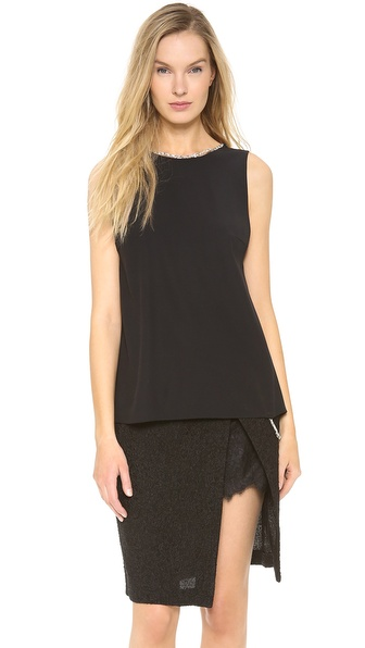 Thakoon Tank With Beaded Trim - Black at Shopbop