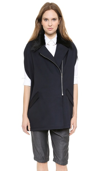 Thakoon Fur Collar Cape - Navy at Shopbop