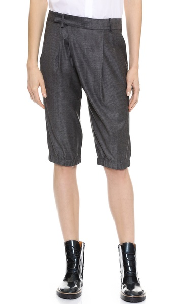 Thakoon Long Draped Front Shorts - Grey at Shopbop