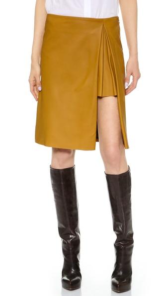 Thakoon Pleated Slit Leather Skirt