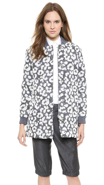 Thakoon Flocked Leopard Bomber Coat - Black/Ivory at Shopbop