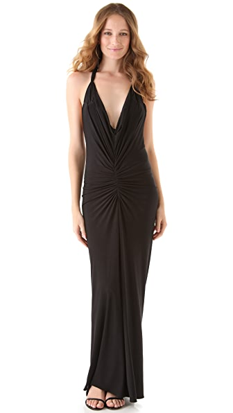 Thayer Ruched Maxi Halter Dress