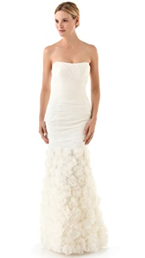 Theia Strapless Rosette Gown
