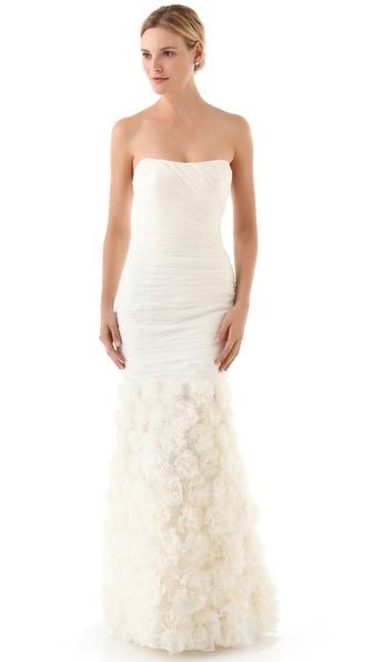 strapless strapless rosette gown