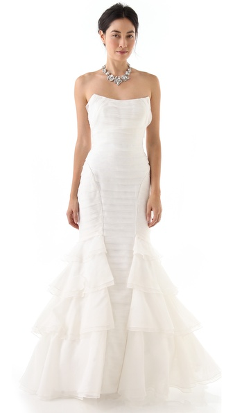 Theia Raw Edge Mermaid Gown