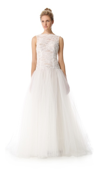 Theia Tulle & Lace Gown