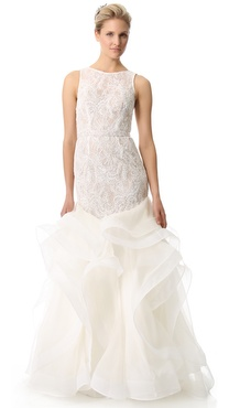 Theia Embroidered Lace Cascading Ruffle Gown