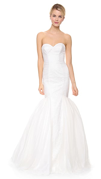 Theia Faith Strapless Tulle Mermaid Gown