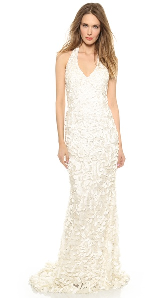 Theia Christie Halter Petal Gown
