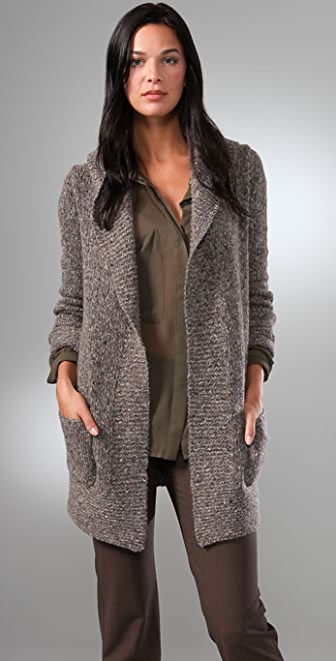 Theory Dania Long Cardigan with Big Collar