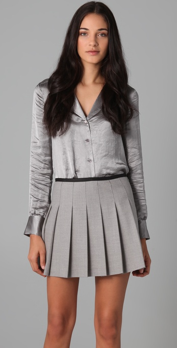 shopbop sale picks theory Deno P Blouse sateen blouse silver