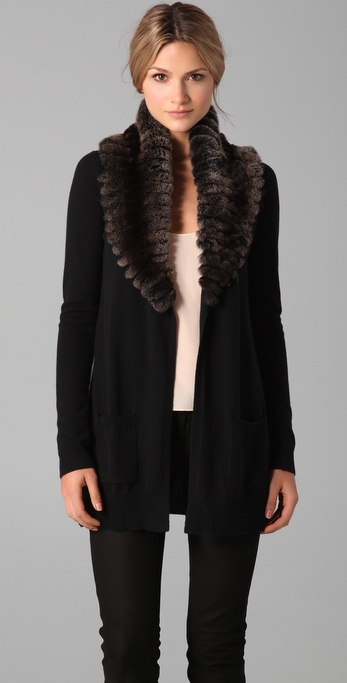 Theory Meiliza Fur Collar Sweater