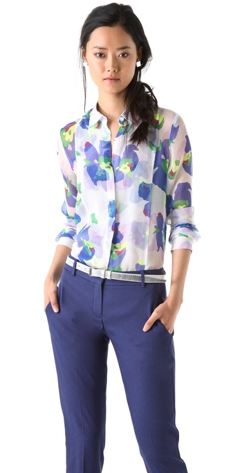 Theory Damina Flower Blouse