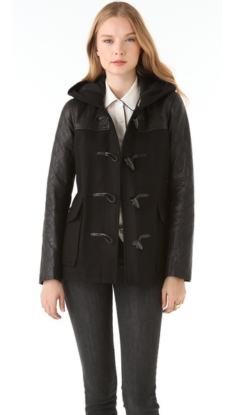 Theory Marimba Wool Coat with Leather Sleeves