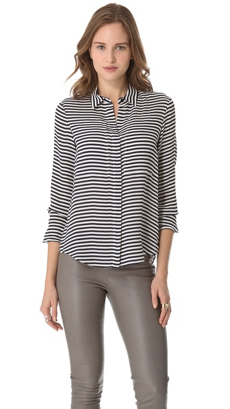 Theory Durlia Striped Blouse